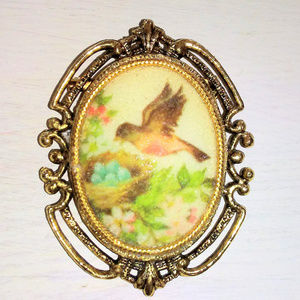 Jewelry - Vintage Bird and Nest Cameo Brooch w/ Ornate Frame